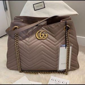 Gucci GG Marmont Nude Matelassé Chain Shoulder Bag